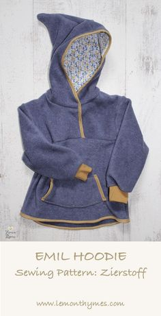 Emil Hoodie by Zierstoff - a fun sewing project for little ones and fairly quick and easy to sew. I'd say it's a sewing project suitable for advanced beginners (you should be familiar with sewing bias tape though since there is A LOT of it!). Happy Sewing!