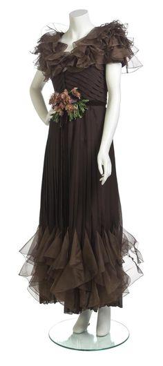 Brown silk chiffon gown, Valentino, Spring/Summer 1973.