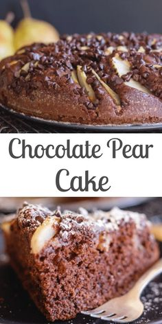 Chocolate Pear Cake a moist easy to make Cake Recipe. Chocolate Cake topped with sliced pears and sprinkled with chocolate chips. The perfect breakfast tea or dessert cake. Pear Recipes Easy, Pear Dessert Recipes, Delicious Cake Recipes, Easy Cake Recipes, Yummy Cakes, Easy Desserts, Gourmet Recipes, Baking Recipes, Recipes With Pears
