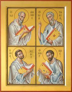 Four Evangelist Russian Orthodox icon Religious Images, Religious Icons, Religious Art, Byzantine Icons, Byzantine Art, Paint Icon, John The Evangelist, Russian Icons, Religious Paintings