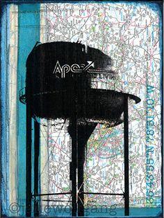 Welcome to Apex, NC by Jane Wolfgang Mixed Media ~ 12 x 9