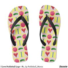 I Love Pickleball Logo - Pink - Flip Flops