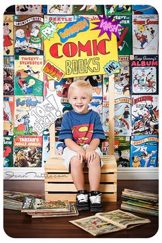 comic books kid child photography crate prop background