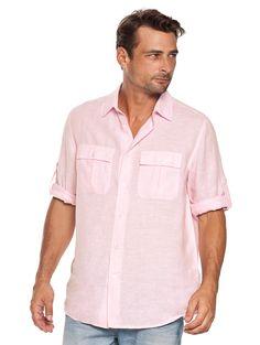 Bellini Pink Linen Pilot Shirt for Men | MODELS MENS ACTORS MOVIES ...