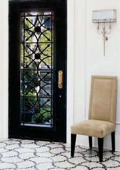 black doors and tile floor