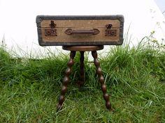 Old suitcase creatieve opberger dit stevige koffertje staat op parmantige pootjes je kunt hem - Geschilderd zink ...