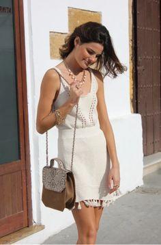 PRIMAVERA 2020 Color Topo, White Dress, Dresses, Fashion, Zippers, Chains, Pockets, Silver, Leather