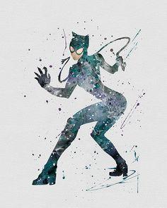 Catwoman Watercolor Art