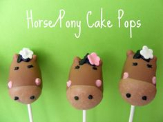"""Horse Cake Pops-combine chocolate and white almond bark for color, choc chips for ears, toothpick for details? Tag that says """"thanks for coming to my party ya'll!"""""""