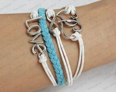 love Charm BraceletAntique Silver Wax Cords and by edwinating, $6.99
