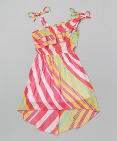 Another great find on #zulily! Pink Striped Island Dress - Toddler & Girls by Unik #zulilyfinds