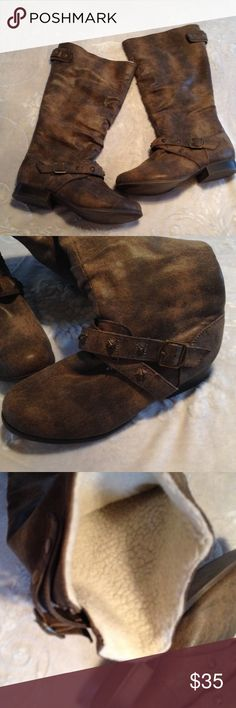Just Fab Fleece lined man made boots 7.5 These are in very good condition, as they were worn maybe twice. Zip up back and strap buckle detail snaps into place. I do NOT trade. Let's make a bundle deal! Shoes Winter & Rain Boots