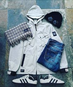 Away days - Cancuns with CP Company beanie, snide Aquascutum scarf and not sure on the jacket. Bape, Stone Island Clothing, Casual Wear, Men Casual, Cool Outfits, Casual Outfits, Football Casuals, Outfit Grid, Mens Clothing Styles