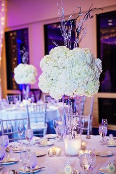 These frosty hydrangea centerpieces have us dreaming of a winter wonderland