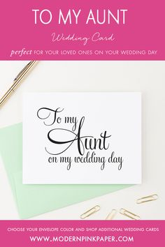To my aunt on my wedding day, Wedding day cards, To my on my wedding day