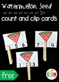 Seed Count and Clip Cards Watermelon seed count and clip cards! Such a fun preschool math activity for summer.Watermelon seed count and clip cards! Such a fun preschool math activity for summer. Summer Preschool Themes, Preschool Lessons, Summer Activities For Kids, Preschool Classroom, Kindergarten Math, Toddler Activities, Montessori Preschool, Montessori Elementary, Preschool Printables