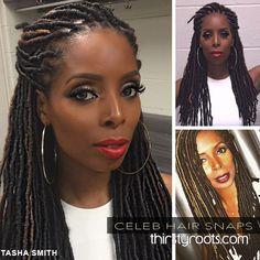 Tasha Smith's faux locs hairstyle
