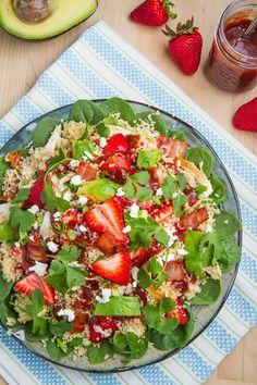 Strawberry quiona salad. Quiona, strawberry, feta, bacon, spinach, cilantro, avocado, chive.