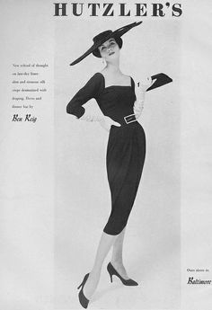 Black dress, square neckline, ruched midsection from the   October  1956 issue of Vogue