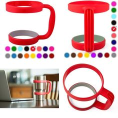 These handles for the Yeti Tumbler come in different colors.  I found on eBay a set of two handles/lids.  Since my hands get tired holding my 30 ounce Yeti tumbler, I ordered these for my husband and myself.  I got different colors so we know which silver tumbler is ours! Picture: eBay affiliate link.