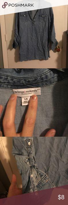 Denim Top Button neck denim maternity top Tops Button Down Shirts