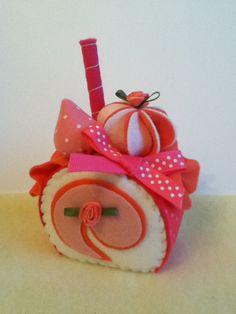 NEW felt food perfect pink strawberry jelly roll felt cake. $8.00, via Etsy.