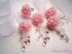** Pink Rose Seed Bead Jewelry Set @happygiraffe