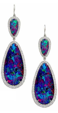 Platinum Black Opal and Diamond Earrings from the Stephen Russell Collection. Photo c/o Stephen Russell Platinum Black Opal and Diamond Earrings from the Stephen Russell Collection. Photo c/o Stephen Russell I Love Jewelry, Fine Jewelry, Jewelry Design, Jewelry Box, Jewelry Supplies, Jewelry Stores, Jewelry Bracelets, Bling Bling, Bijoux Art Deco