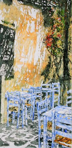 """back alley cafe / paros 36"""" x 18"""" micheal zarowsky watercolour on arches paper / private collection Saved by"""