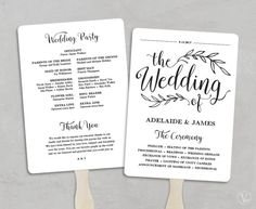 Wedding Program Fan Template Editable In By Hopestreetprintables