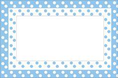 Imprimibles de lunares blancos y celeste. Scrapbook Frames, Scrapbook Background, Baby Scrapbook, Templates Printable Free, Printable Labels, Dots Free, Boarders And Frames, Borders For Paper, Frame Clipart