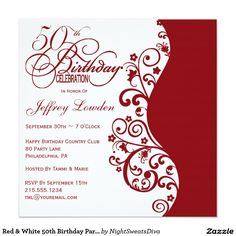 Red White 50th Birthday Party Invitation