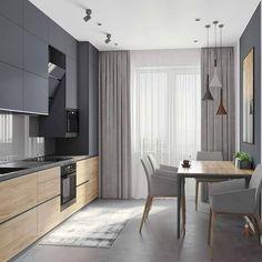 Modern Kitchen Design 44 m - Галерея Kitchen Room Design, Kitchen Sets, Modern Kitchen Design, Home Decor Kitchen, Modern Interior Design, Kitchen Furniture, Interior Design Living Room, Furniture Plans, System Furniture