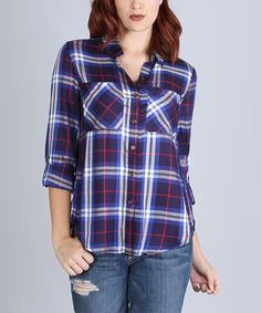 Look what I found on #zulily! Blue & Navy Plaid Slit-Back Button-Up Top by SOB Clothing #zulilyfinds