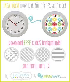 New look for the IKEA Rusch clock. Change background and get a brand new look stylish wall clock. Download free printables x