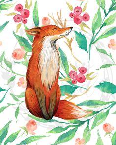 Floral fox 8x10
