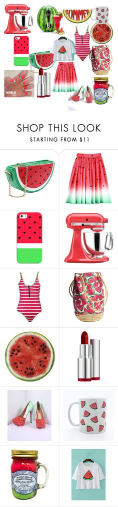 """Summer by Watermelon"" by ipekzsuel on Polyvore featuring Casetify, KitchenAid, Boohoo, Round Towel Co., Clarins, TaylorSays, mmm and Frontgate"