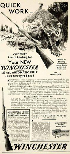 1933 Ad Winchester Model 63 Rifle