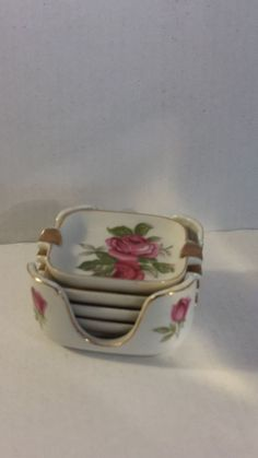Hand Painted Pink Glass Ashtrays