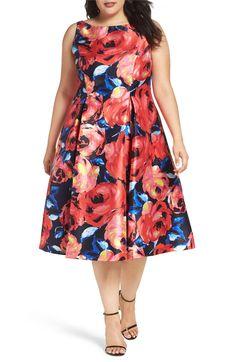 30bb8c20873 Plus Size Women s City Chic Fresh Hydrangea Print Fit   Flare Dress ...