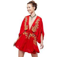 Elegant Floral Embroidery Red Crepe Beach Dress (€22) via Polyvore featuring dresses, beach dresses, crepe fabric dress, red dress, red crepe dress and crepe dress