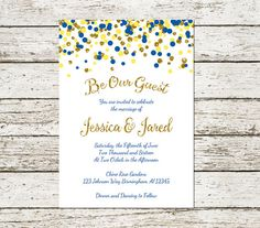 Beauty and the Beast Wedding Invitation Printable Blue Yellow and Gold Confetti Princess Fairytale Be Our Guest Download Digital File