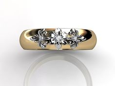 14k two tone yellow and white gold diamond unusual unique floral wedding band by Jewelice, $860.00