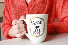 Treat Yo Self : hand painted coffee mug by StarOfTheSeaDesign