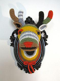 Crochet deer head in a brown frame by ManafkaMina on Etsy, $125.00