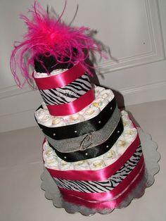 Pink and Zebra Diaper cake... cute