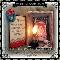 To All a Good Night Book Light ePattern - Martha Smalley - PDF DOWNLOAD #paintingepattern #christmasshadowbox #paintednightlight