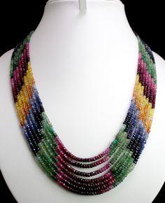 Natural Ruby,Emerald & Sapphire Beads Necklace (kgr369ct),for further details,visit us at www.krishnagemsnjewels.com
