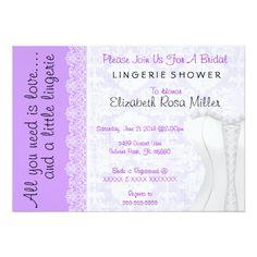 Cute White Lace Corset Lingerie Bridal Shower Card
