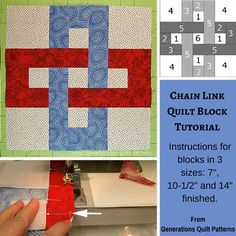 "Chain Link quilt block pattern. 7"", 10-1/2"" and 14"" finished blocks.  http://www.generations-quilt-patterns.com/chain-link-quilt-block.html"